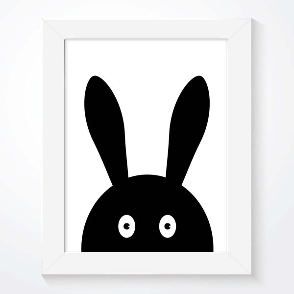 Bunny Rabbit Black and White Kids Print