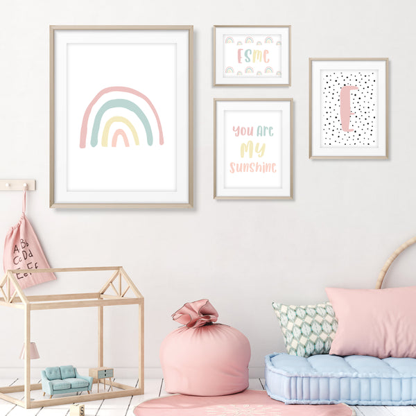 Pink Rainbow Nursery Prints, Nursery Prints, Girls Prints, Girls Nursery Prints, Rainbow Prints, Nursery Rainbow Prints, Pastel Rainbow Prints, Set of 4 Nursery Prints, Girls Name Print, Initial Print, Dalmation Print, Play Print, Rainbow Posters, Girls Room Decor