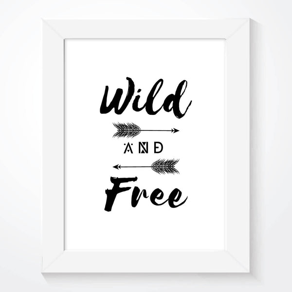 Wild And Free Scandinavian Boys Bedroom Nursery Print