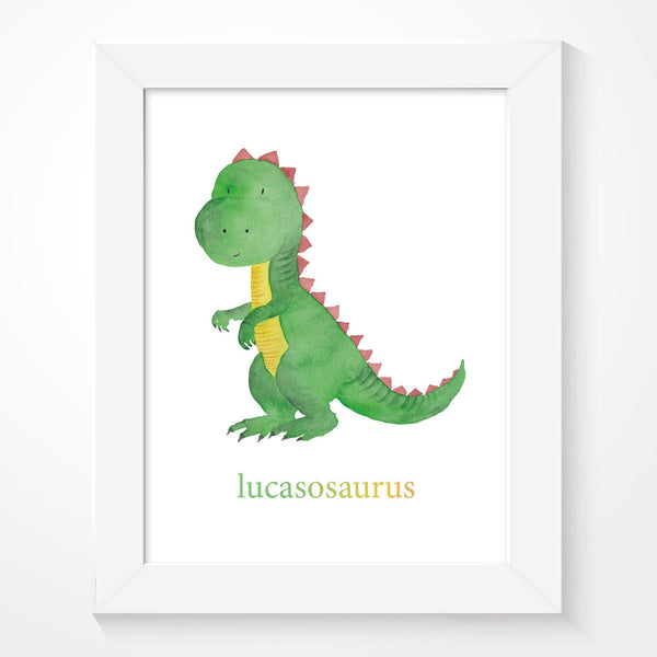 Personalised Boys Green Dinosaur Print