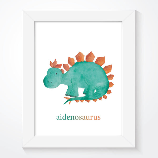 Personalised Boys Blue Dinosaur Print