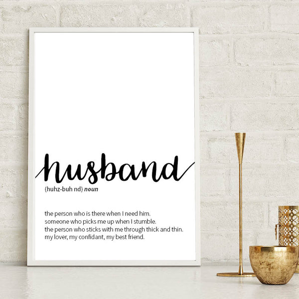 Husband Dictionary Definition Print Typography Print