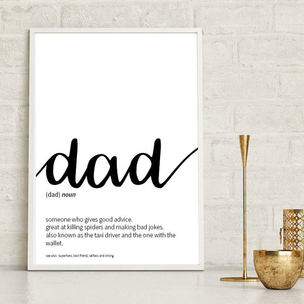 Dad Dictionary Definition Print Typography Print