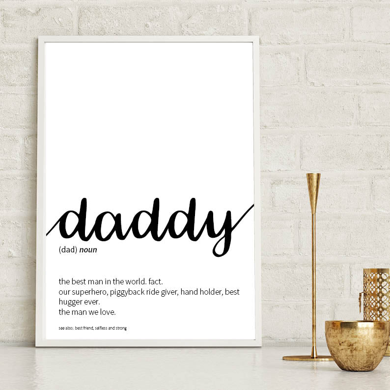 Daddy Dictionary Definition Print Typography Print