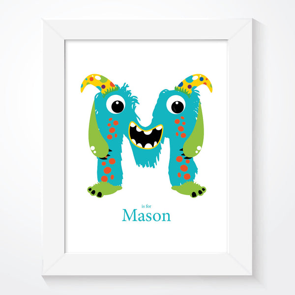 Personalised Funny Monsters Letter Name Print