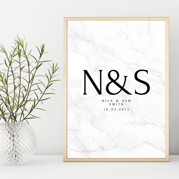 Personalised Couples Monogram Wedding, Anniversary Print
