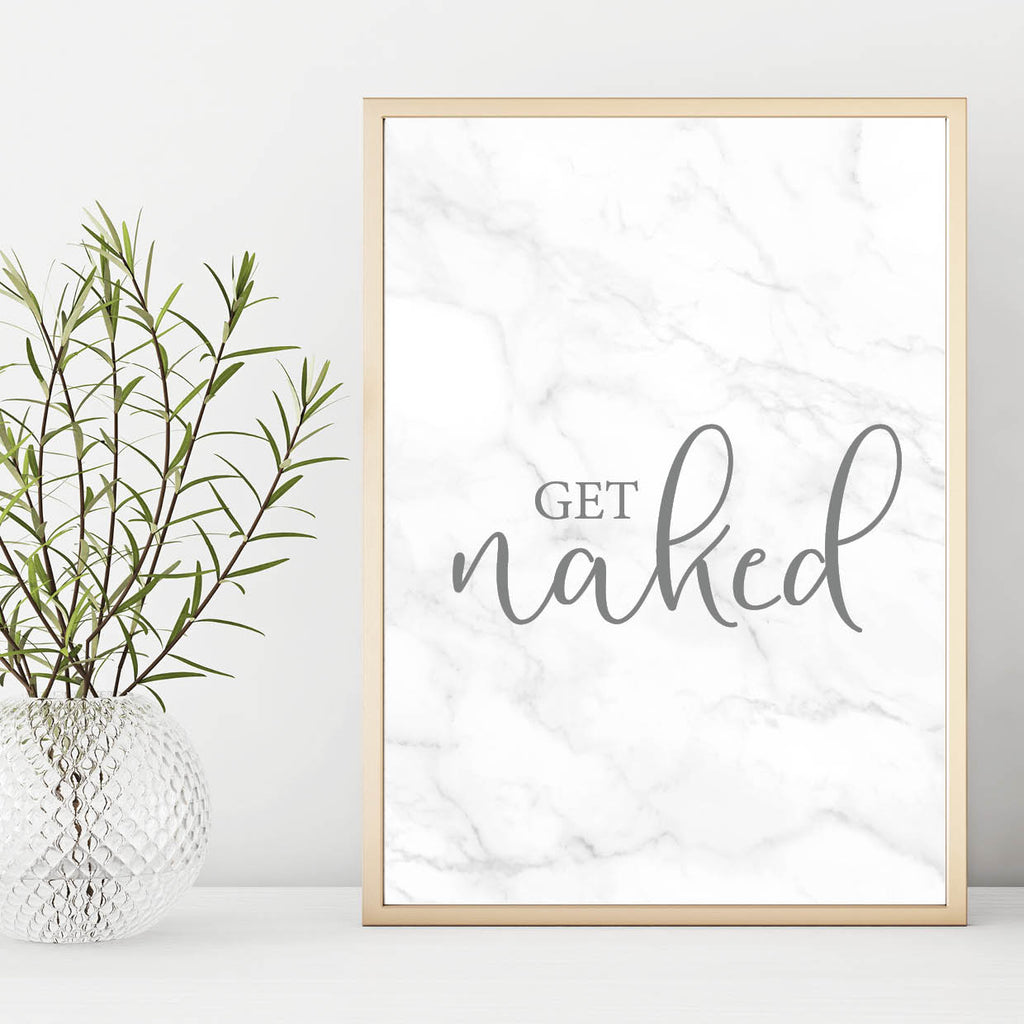 Get Naked White Marble Wall Art Print