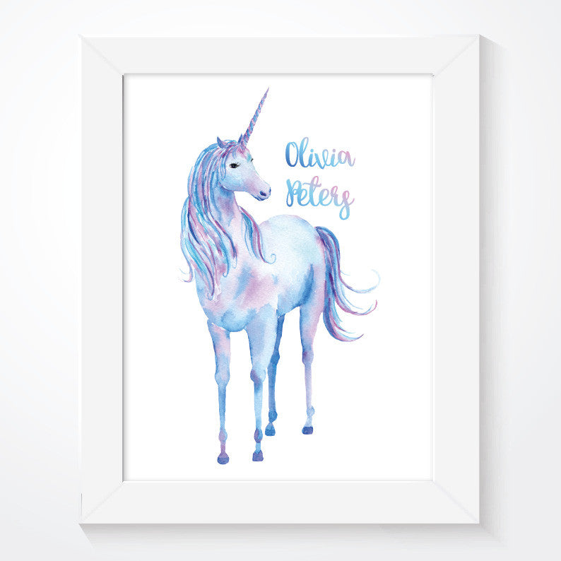 Personalised Watercolour Unicorn Nursery Print - Couture Moments