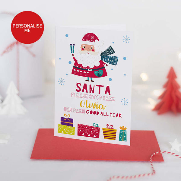 Personalised Santa Please Stop Here Christmas Card