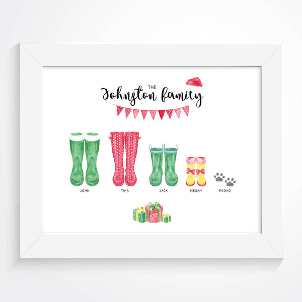 Personalised Christmas Family Welly Print, Christmas Family Wellington Print, Christmas Custom Family Portrait, Christmas Family Poster, Personalised Christmas Family Wall Art, Wellies, Christmas Family Welly Print