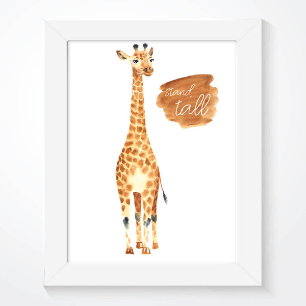 Giraffe Stand Tall Nursery Wall Art Print