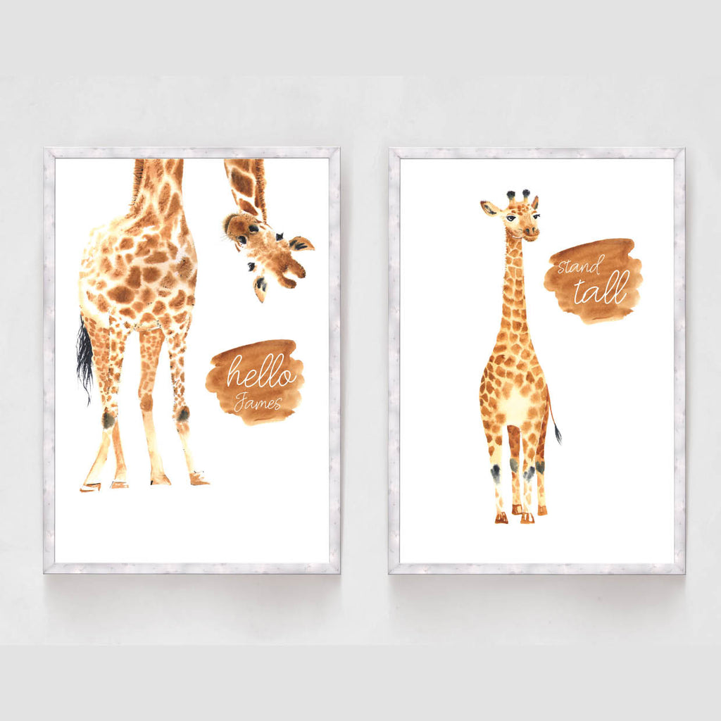 Set of 2 Giraffe Nursery Prints - Couture Moments