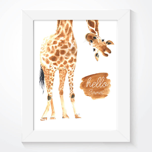 Giraffe Hello Little One Nursery Wall Art Print