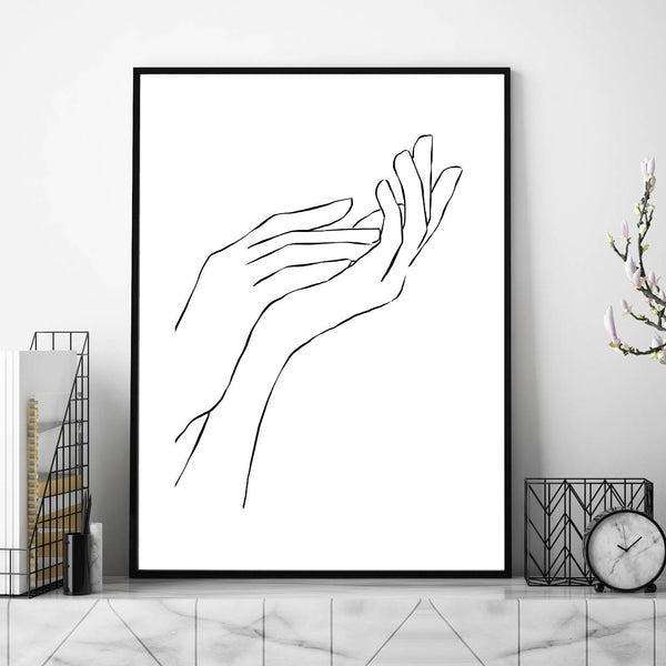 Hands Line Art, Line Art Print, Abstract Print, Illustration Poster, Wall Art, Two Hands Line Art