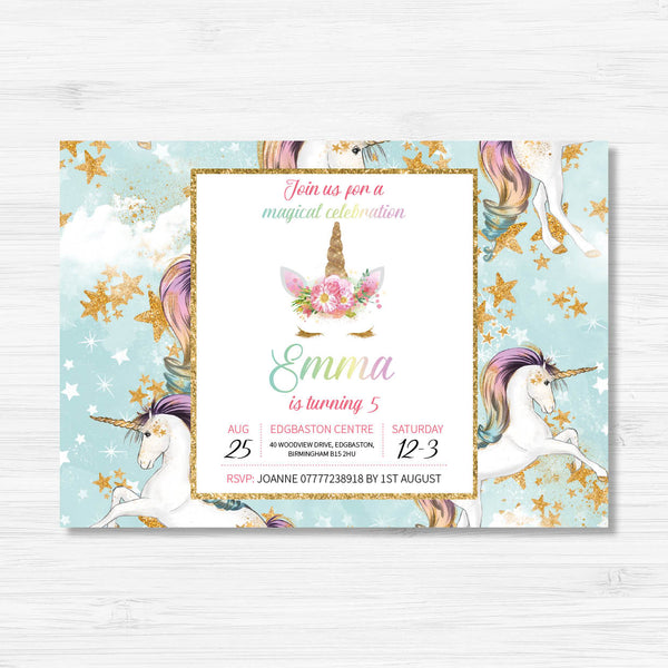 Unicorn Themed Birthday Invitation
