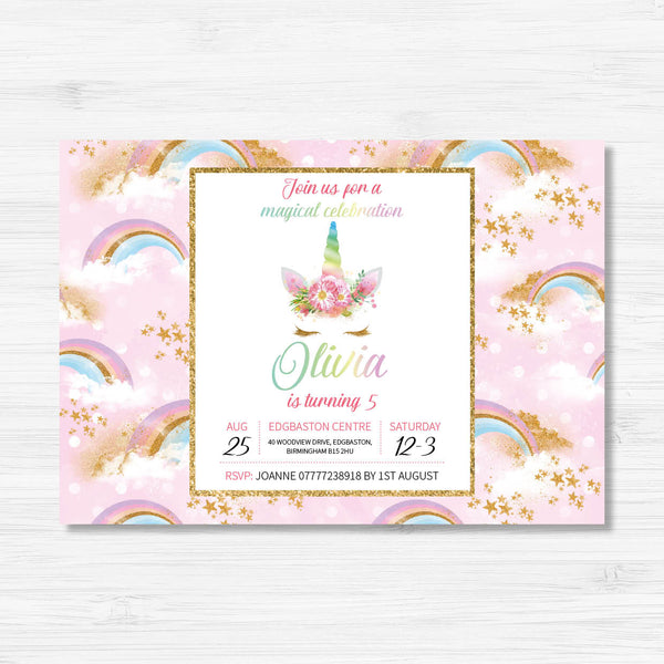 Unicorn Themed Birthday Invitation - Pink