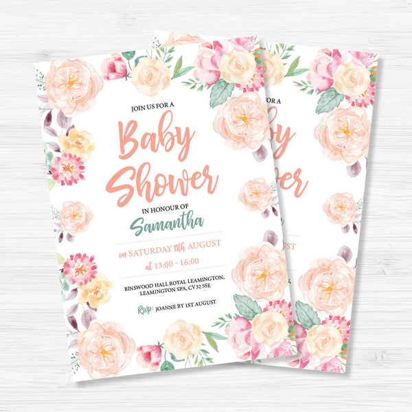 Digital Floral Baby Shower Invitation
