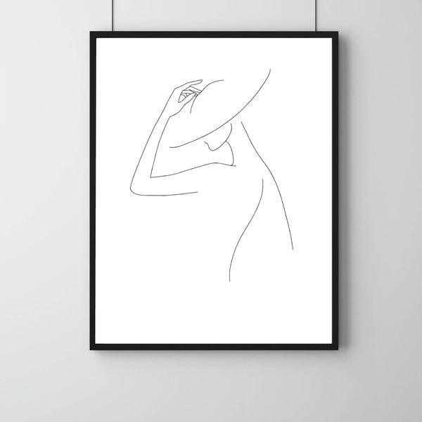 Line Art Print, Line Art Illustration, Fashion Line Art, Hat Line Print, Female Face Line Art Print, Body Line Art, Female Line Print, Femme