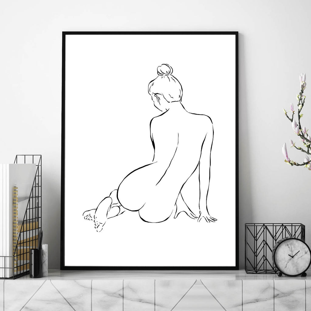 Female Line Art,, Body Line Art, Line Art Hands, Womens Body Line Art, Line Print, Line Art Print, Naked Female Body Line Print