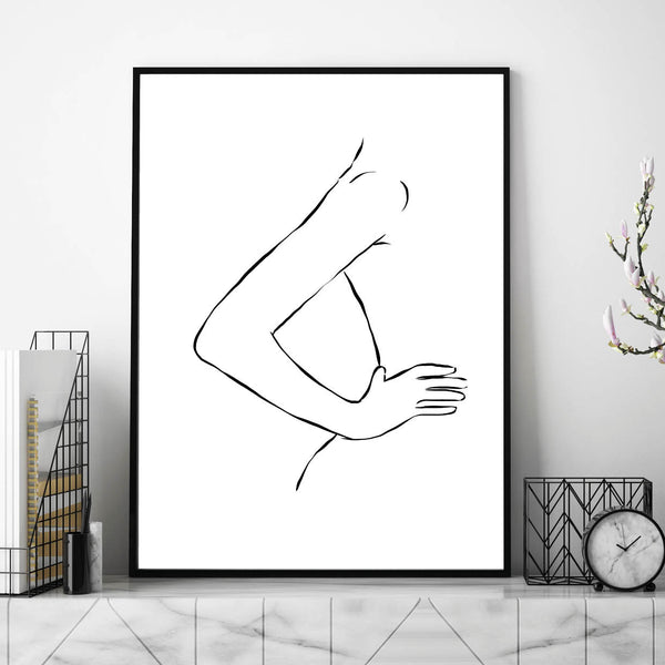 Female Line Art,, Body Line Art, Line Art Hands, Womens Body Line Art, Line Print, Line Art Print