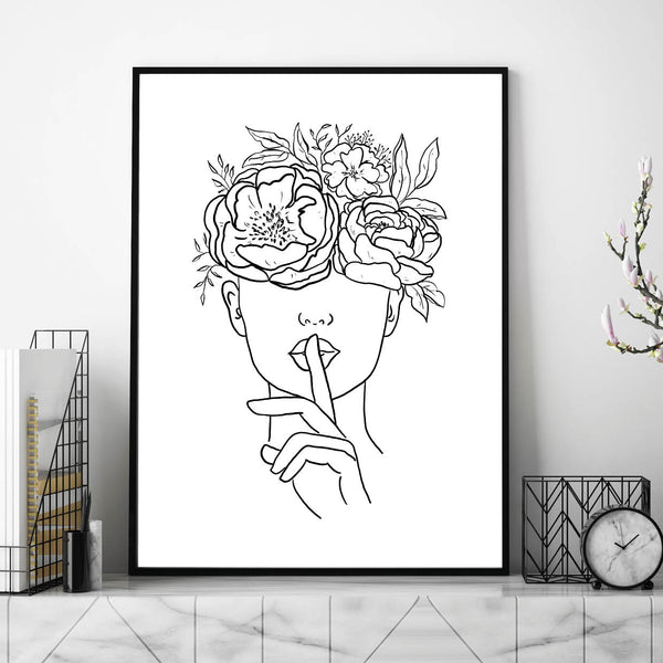 Female Line Art, Head of Flowers, Line Art Face, Line Art Hands, Womens Face Line Art