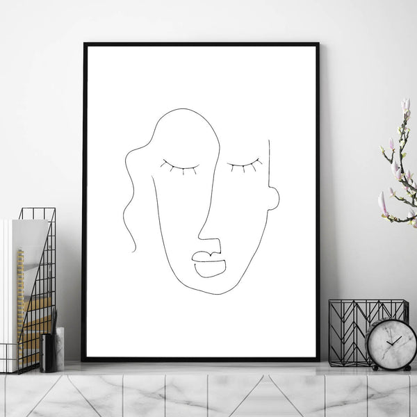 Abstract Face Line Art,, Line Art, Line Print, Line Art Print, Face Line Print, Line Face Drawing