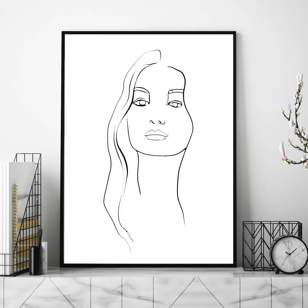 Abstract Face Line Art,, Line Art, Line Print, Line Art Print, Face Line Print, Line Face Drawing, Female Face Line Art Illustration