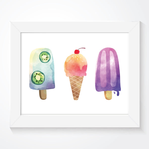 Trio of Ice Creams Kids Bedroom Prints, Poster, Wall Art, Nursery Decor