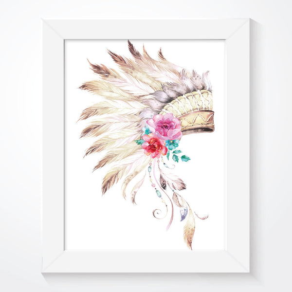 Girls Chief Indian Headdress Print