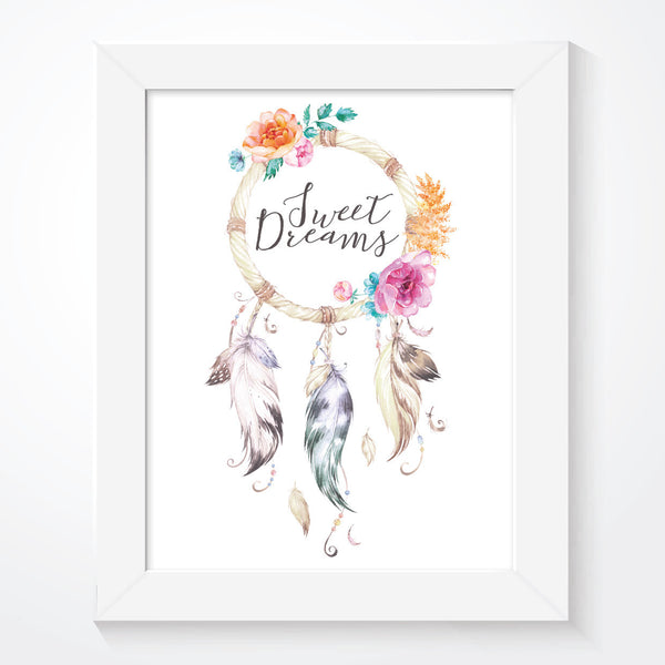 Sweet Dreams Dream Catcher Boho Print
