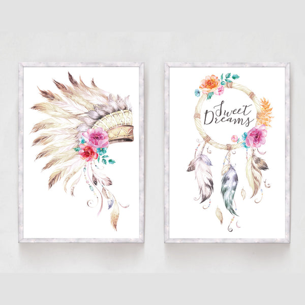 Set of 2 Indian Headdress Dream Catcher Print - Couture Moments