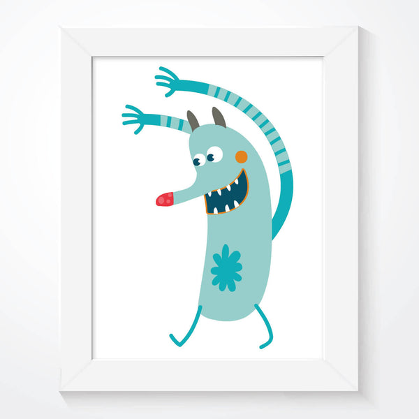 Blue Funny Monster Boys Bedroom Print