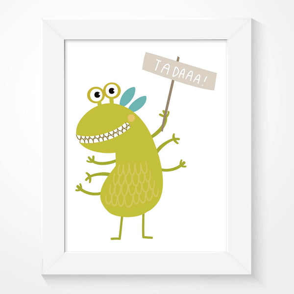 Funny Green Monster Boys Bedroom Print