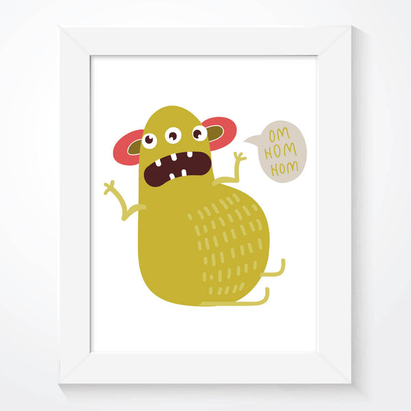 Funny Hungry Monster Boys Bedroom Print