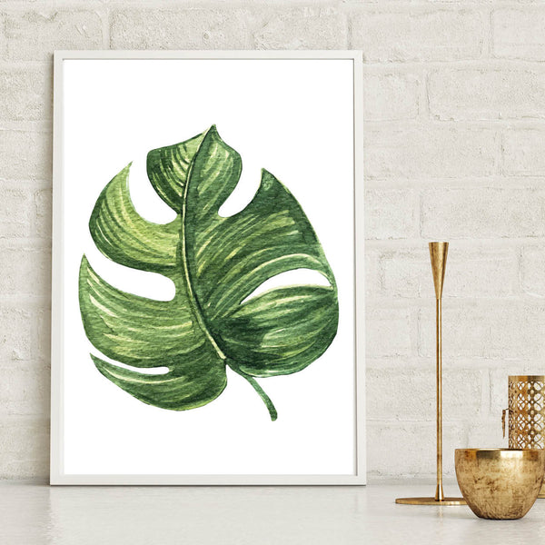 Monstera Leaf Tropical Wall Art Poster
