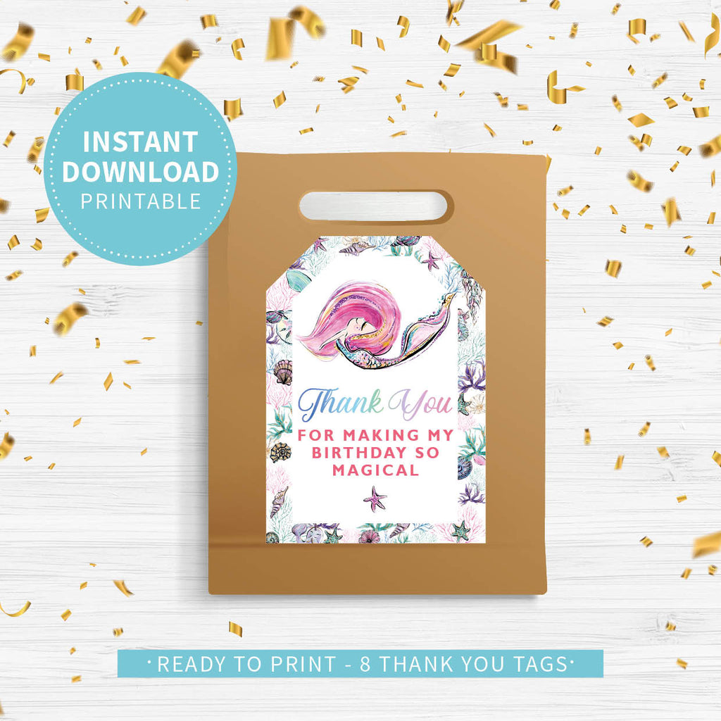 Mermaid Birthday Thank You Tags