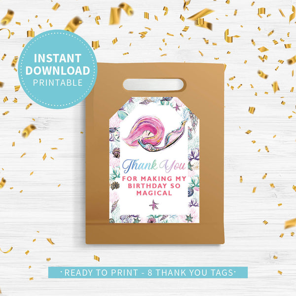 Mermaid Birthday Thank You Tags - Couture Moments