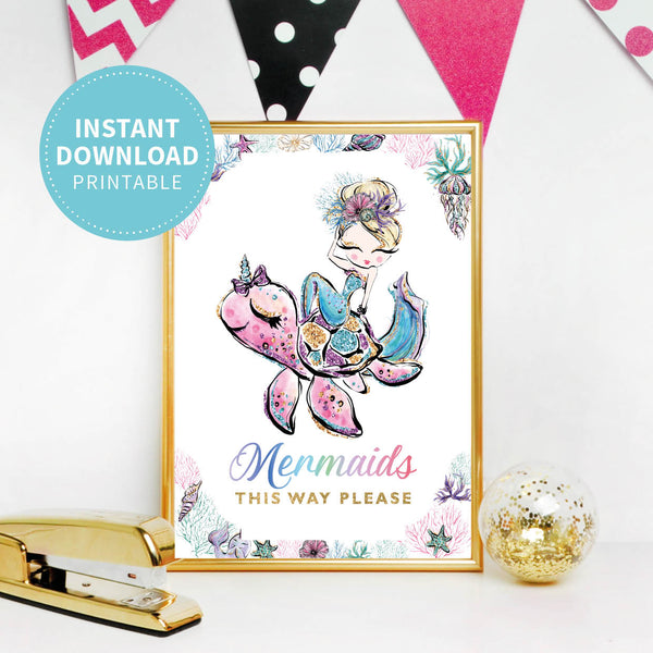 Mermaid Birthday Party Welcome Sign - Printable