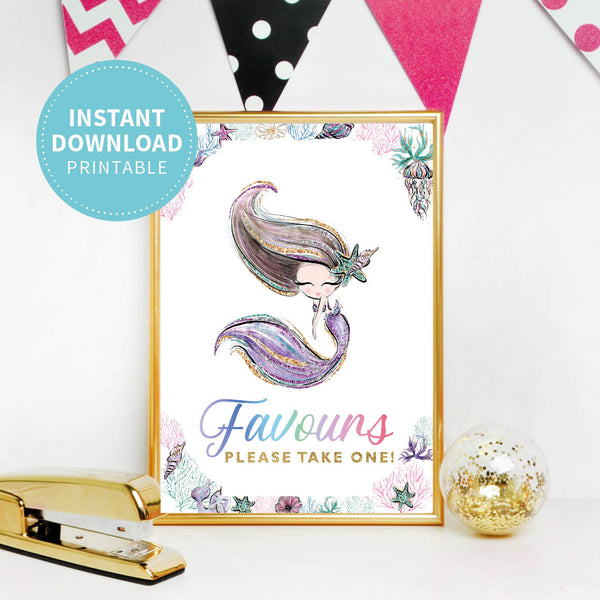 Mermaid Birthday Favours Party Sign - Printable