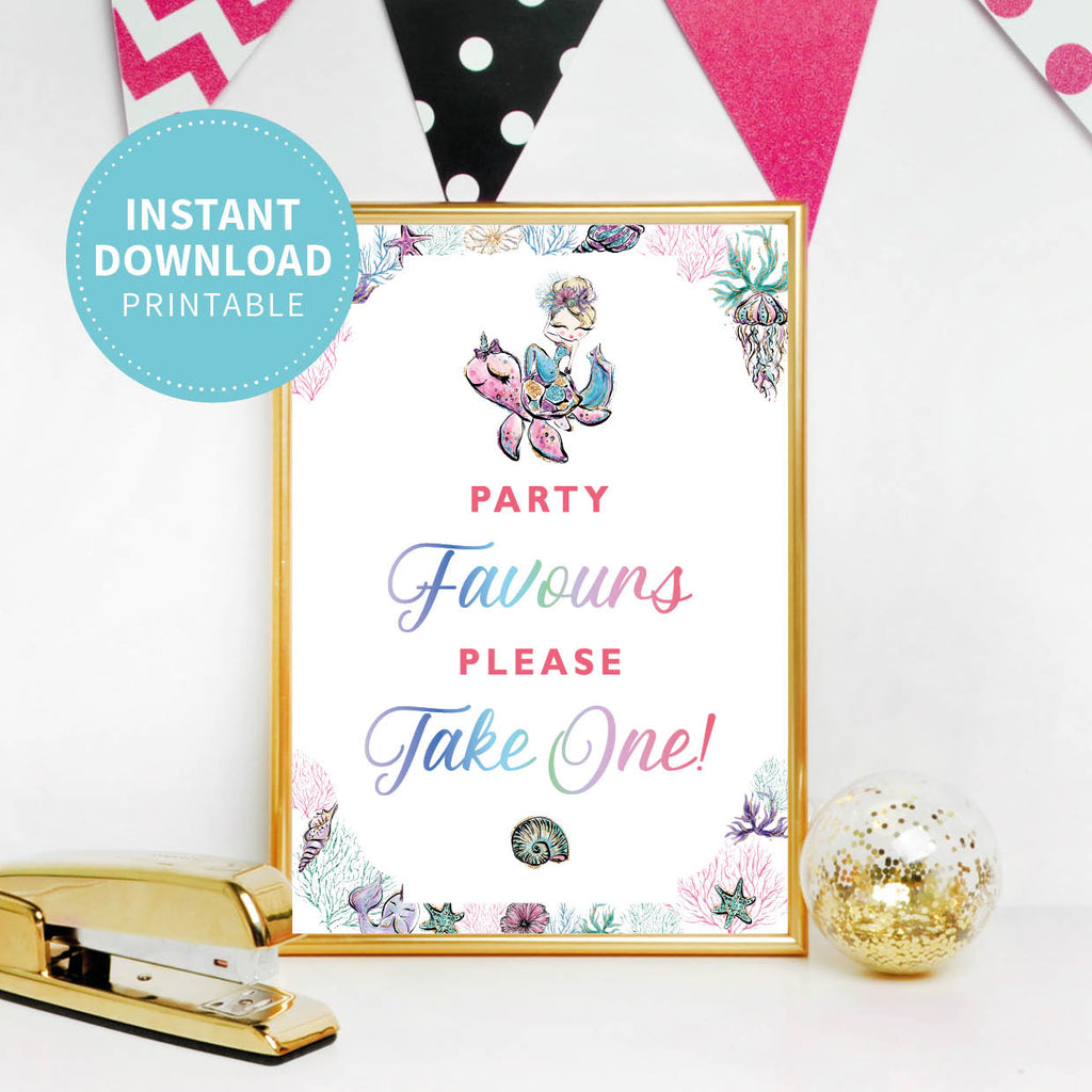 Mermaid Birthday Party Favours Sign - Printable