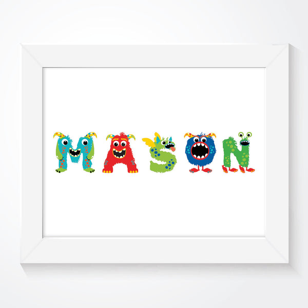 Personalised Boys Name Monsters Print