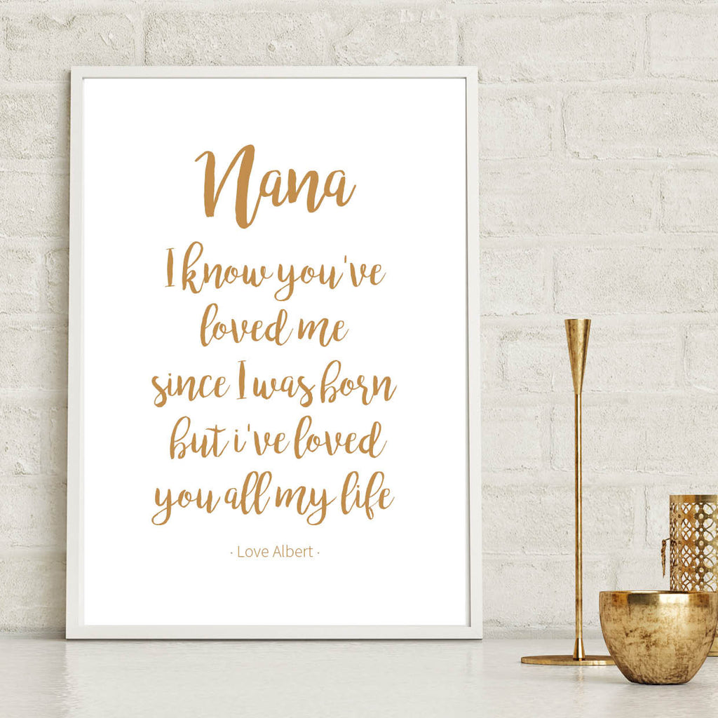 Personalised Nana Grandmother Print