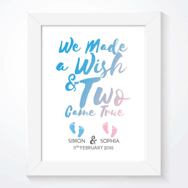 Twins We Made A Wish Print