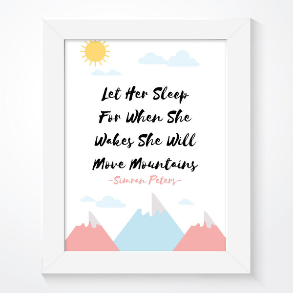 Personalised Let Her Sleep Mountains Print