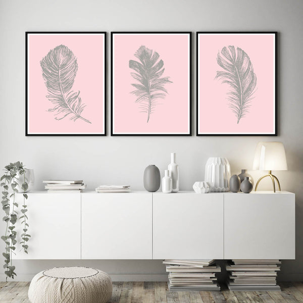Set of 3 Blush Pink Feather Prints - Couture Moments