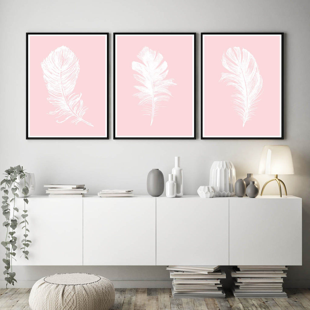 Set of 3 Blush White Feather Prints - Couture Moments