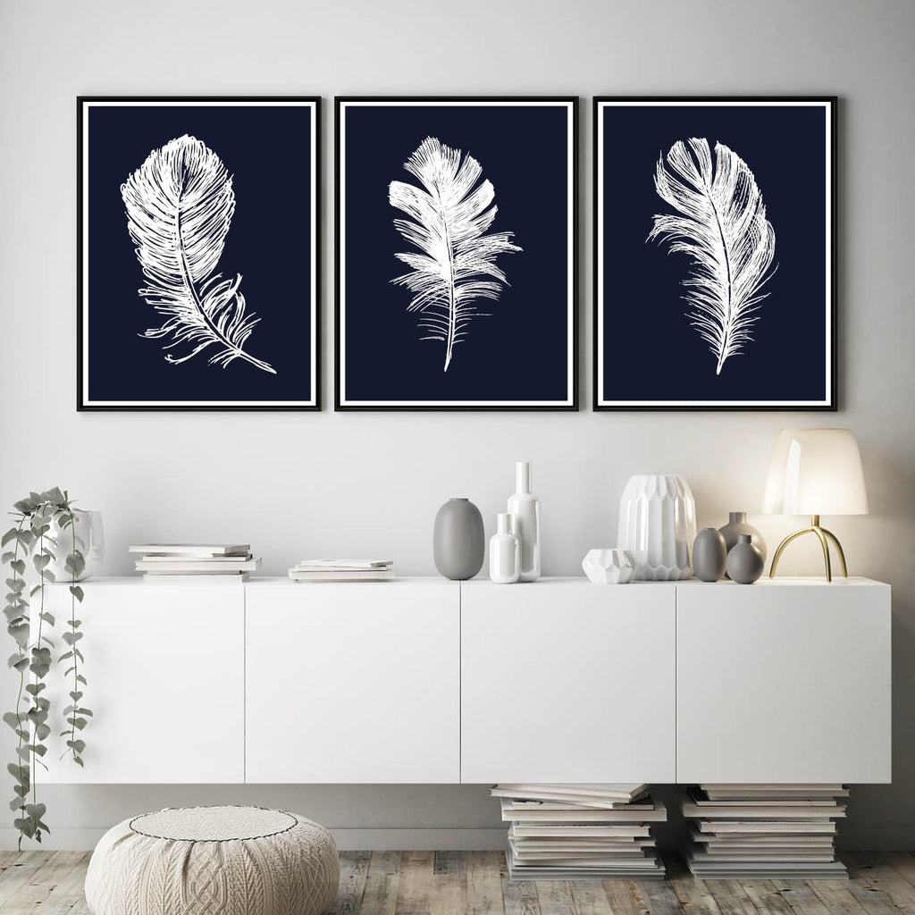 Set of 3 Navy White Feather Prints, Navy Feathers Poster, Navy Home Decor Wall Art
