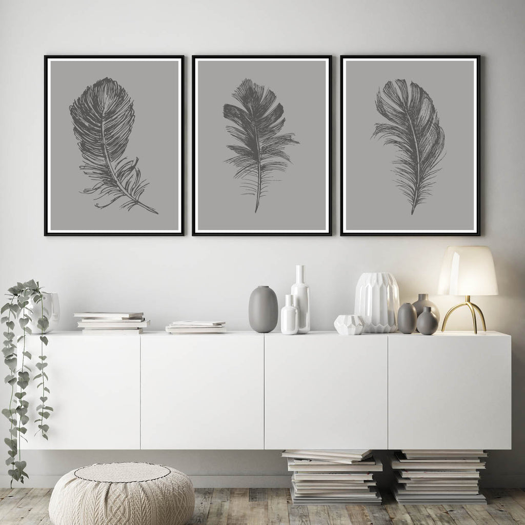 Set of 3 Grey Feather Prints - Couture Moments
