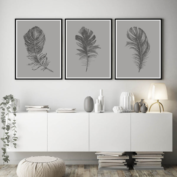Grey Feather Prints, Feather Poster, Feather Home Decor Print