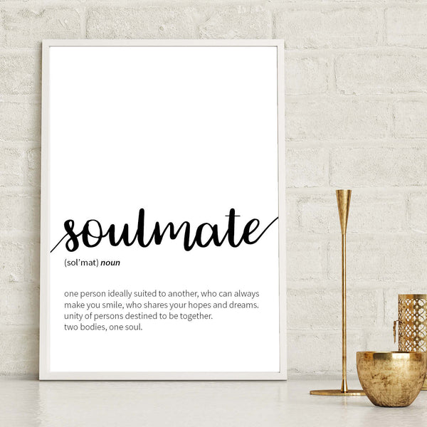 Soulmate Definition Print, Dictionary Definition Print, Soulmate Print, Anniversary Print, Wedding Gift Print, Valentines Print